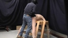 Submissive guy gets tied up and roughly fucked in the ass from behind