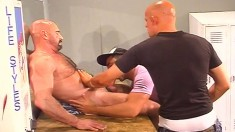 Insatiable gay guy gets two massive dicks shoved up his asscrack