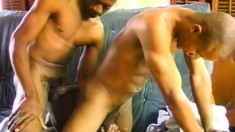 Cute black stud sucks his lover's prick and then takes it up his butt