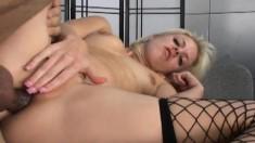 Sexy Slim Blonde In Fishnet Stockings Angela Sucks And Fucks A Big Rod