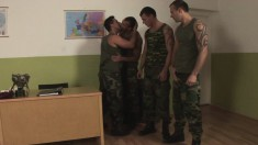 Four Muscled Soldiers Get Naughty And Start Giving Each Other Blow Jobs