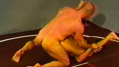 Toned stallion gets undressed to rub against his partner's naked body