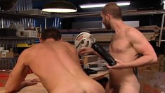 Horny guy with a big cock gets involved in a wild fisting experience
