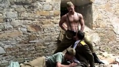 Kinky Russian soldiers seize the chance to satisfy their anal desires