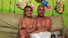 Dazzling blonde with big boobs Aubrey Adams is a sucker for hard meat