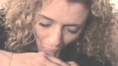 Sensual blonde hooker with lovely big boobs displays her oral talents