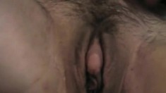 Solo masturbation with hairy pussied babe