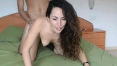 Brunette babe hardcore fuck and creampie