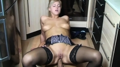 Tattooed babe doggystyle fucked before facial