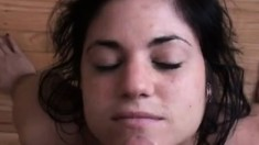 Facial for brunette after POV blowjob
