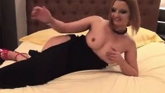 Sexy babe stripteasing and fingering on webcam