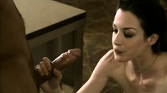 Sexy brunette sucks cock and lick cock a lot