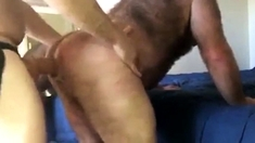 Hairy Mature Man Gets Fuck By Strap On Dildo